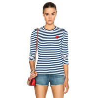 Comme Des GarçonsStriped Cotton Red Heart Tee in Stripes,Blue
