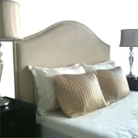 CornermillMyra Upholstered Bed Head, Timber Legs