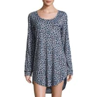 CosabellaBella Leopard-Print Long-Sleeve Sleep Dress, Dove Gray/Black