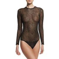CosabellaZeigfeld Long-Sleeve Sheer Bodysuit, Black Burnout