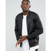 Criminal DamagePodium Zip Thru Bomber Jacket - Black