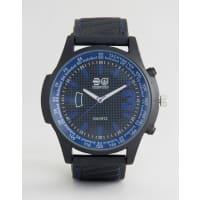 CrosshatchBlack Watch with Blue Markings - Black