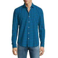 CULTURATABuffalo-Check Long-Sleeve Sport Shirt, Blue