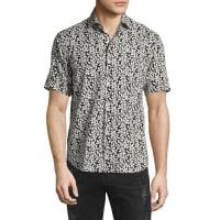 CULTURATALeaf-Print Short-Sleeve Shirt, White/Black