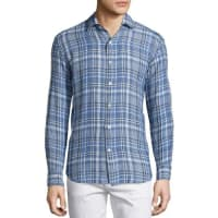 CULTURATAPlaid Linen Long-Sleeve Sport Shirt, Blue