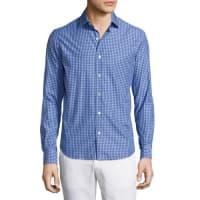 CULTURATAPlaid Long-Sleeve Sport Shirt, Navy