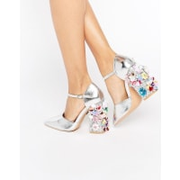 Daisy StreetFlower Detail Point Heeled Shoes - Silver mirror