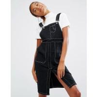 Daisy StreetDungaree Dress With Contrast Stitching - Black