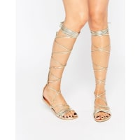Daisy StreetLace Up Gladiator Flat Sandals - Gold