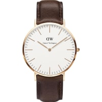 Daniel Wellington0109DW Bristol Rose Gold-Plated and Leather Watch, Womens