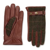DentsEdinburgh Checked Flannel And Leather Gloves - Schokoladenbraun