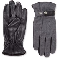 DentsGuildford Mélange Flannel And Leather Gloves - Dark gray