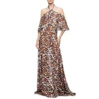 Derek LamHalter-Neck Floral-Print Silk Chiffon Gown, Natural/Multi Colors