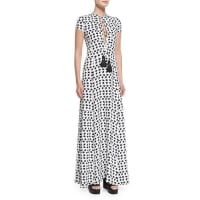 Derek LamShort-Sleeve Crescent-Print Gown, White/Black