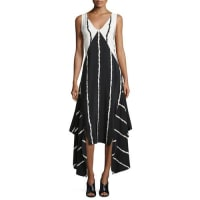 Derek LamSleeveless Striped Colorblock Midi Dress, Black
