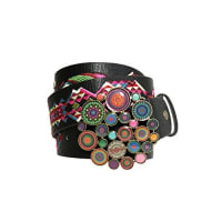DesigualCint_Chapon XL Wild Rose, Cinturón para Mujer, Negro (Negro 2000), 90 cm (Talla del Fabricante: 90 cm)