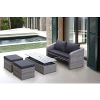 Destiny9-tgl. Loungeset »Jersey«, 2er-Sofa, 2 Hocker, Tisch 107x108 cm, Polyrattan, grau, grau