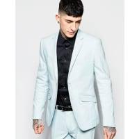 Devils AdvocateSkinny Stretch Fit Herringbone Suit Jacket - Blue