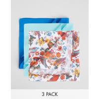 Devils AdvocateConfezione da 3 fazzoletti da taschino con stampa di pappagallo e in tinta unita - Blu navy