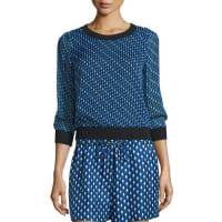Diane Von FürstenbergCarenza Diagonal Dots Silk Top, Black/Blue
