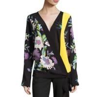 Diane Von FürstenbergFloral-Print Silk Crossover Tie Blouse, Multicolor