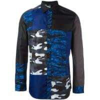 Dieselcamouflage patchwork shirt, Mens, Size: Medium, Black, Cotton/Nylon