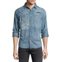 DieselDistressed Denim Western Shirt, Blue