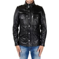 DieselMulti Pockets Leather Jacket With Zip and Buttons Herbst/Winter