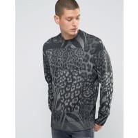 DieselS-Joe-AR - Sweatshirt mit Rundhalsausschnitt, Aufnäher und Leopardenmuster - Grau