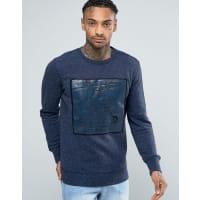 DieselS-Jpe-AG - Sweatshirt mit Rundhalsausschnitt und meliertem Plastikol-Logo - Marineblau