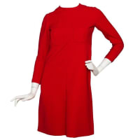 Dior60s Mod Christian Dior Red Wool A-line Day Dress