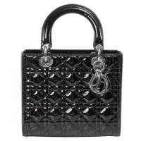 DiorLady Dior Patent Leather Bag Black W/ Silver Hardware
