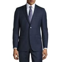 DKNYTwo-Piece Slim-Fit Suit, Blue Pattern