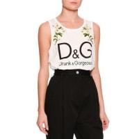 Dolce & GabbanaDaisy Logo Sleeveless Top, White