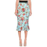 Dolce & GabbanaFloral Flounce-Hem Skirt, Blue/Multi