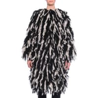 Dolce & GabbanaFringe Shaggy Wool-Blend Coat, Black/White