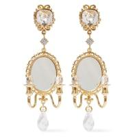 Dolce & GabbanaGoldglänzende Ohrclips mit Kristallen und Zierspiegel
