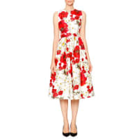 Dolce & GabbanaPoppy & Daisy Open-Back Party Dress, Red/Black/White