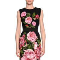Dolce & GabbanaRose-Print Crewneck Shell, Black/Rose Pink