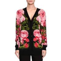 Dolce & GabbanaRose-Print Long Cardigan, Black/Rose Pink