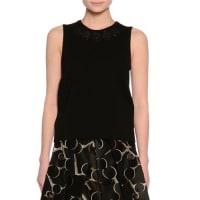 Dolce & GabbanaSleeveless Embellished-Neck Top, Black