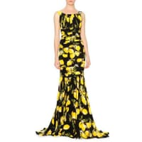 Dolce & GabbanaSleeveless Pleated Lemon Gown, Yellow/Black
