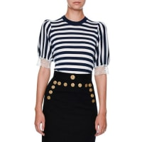 Dolce & GabbanaStriped Lace-Trim Cardigan, Navy/White