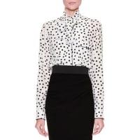 Dolce & GabbanaTie-Neck Polka-Dot Blouse, White/Black