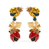 Dolce & GabbanaVergoldete Ohrclips mit Kristallen und Emaille