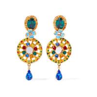 Dolce & GabbanaVergoldete Ohrclips mit Swarovski-Kristallen und Emaille