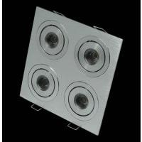 Domus LightingLED Downlight Aluminium Square Four 2 Way Tilt Adjustable 3200K Puk 07
