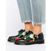 Dr. Martens1461 Splatter Smooth 3 Eye Flat Shoes - Black