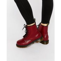 Dr. MartensCherry Red Smooth 8-Eye Boots - Red