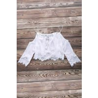 ZafulCombined Lace White Crop Top